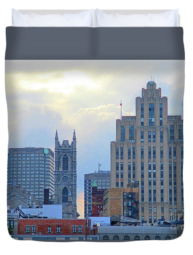 Montreal Duvet Cover featuring the photograph Port Of Montreal Skyline by Randall Weidner