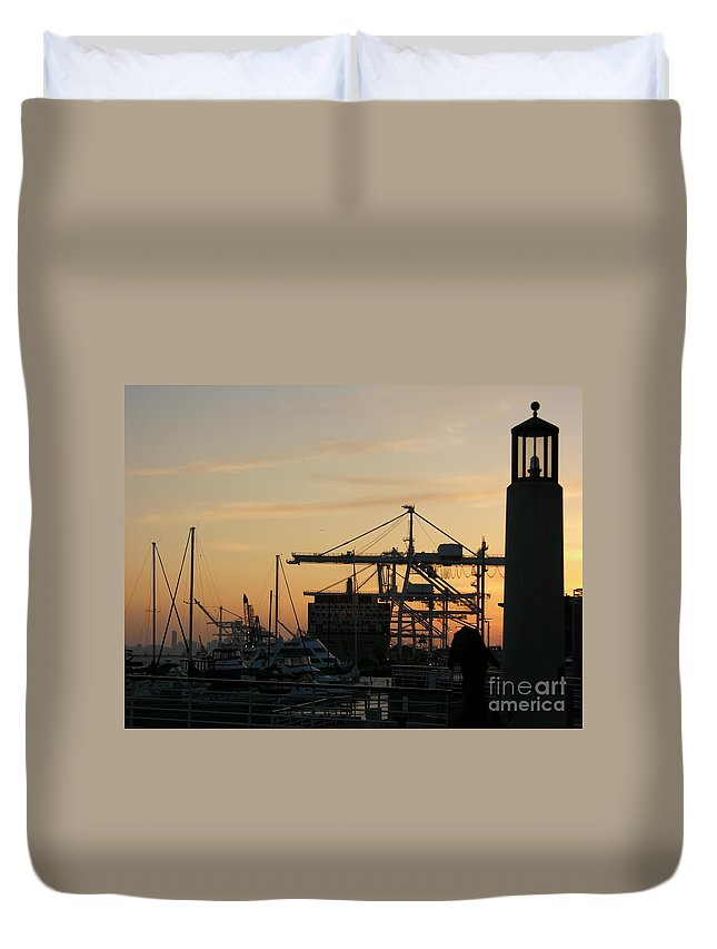 Oakland Duvet Cover featuring the photograph Port Of Oakland Sunset by Carol Groenen