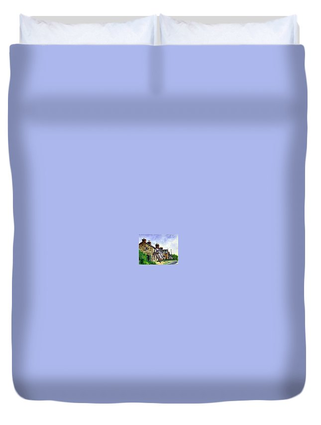 Water Color Duvet Cover featuring the painting Port Rush Gutter Repair by Jim Gola