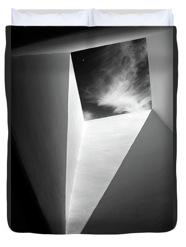 Black And White Duvet Cover featuring the photograph Portal by DeAnn Peterson