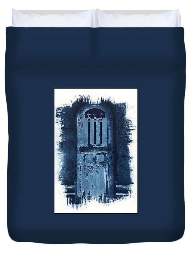 Cyanotype Duvet Cover featuring the photograph Portals by Jane Linders