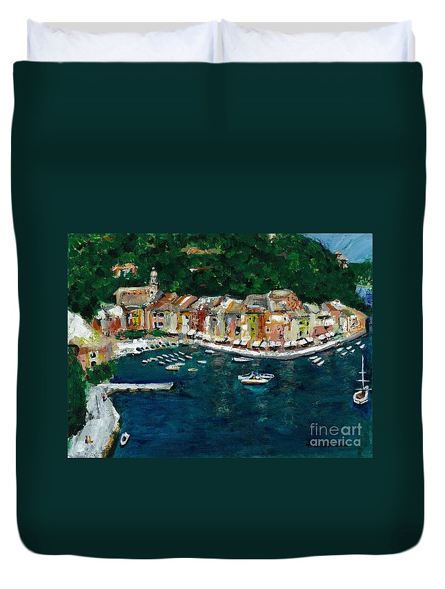 Abstact Italy Duvet Cover featuring the painting Portifino Italy by Frances Marino