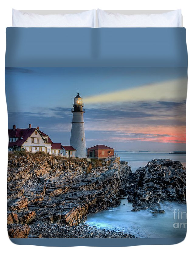 Clarence Holmes Duvet Cover featuring the photograph Portland Head Light At Sunrise I by Clarence Holmes