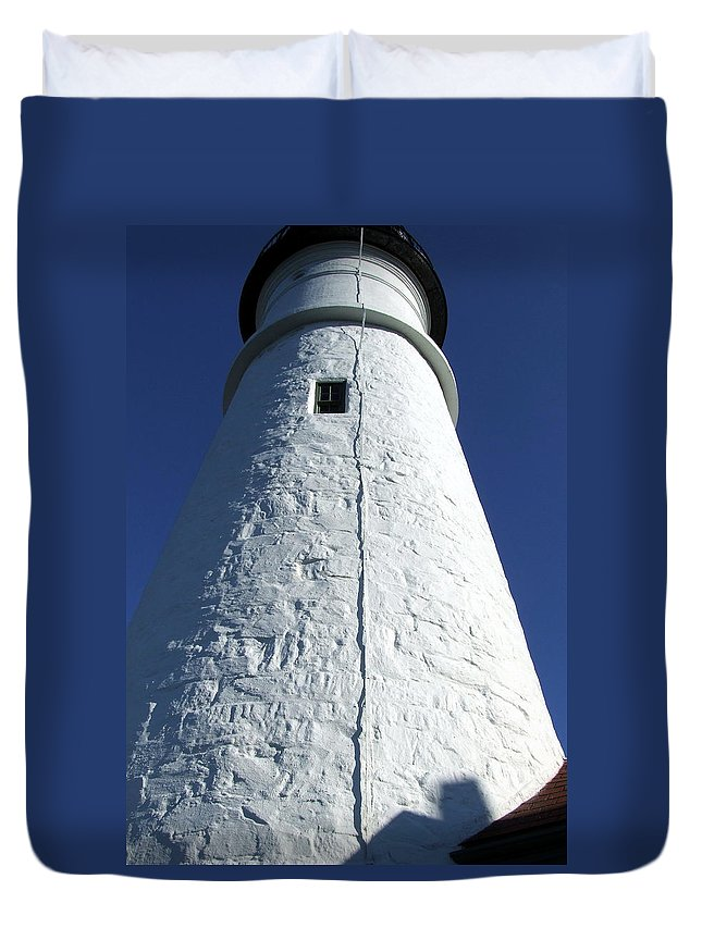 Portland Duvet Cover featuring the photograph Portland Head Light Tower by Monica Ellen Smith