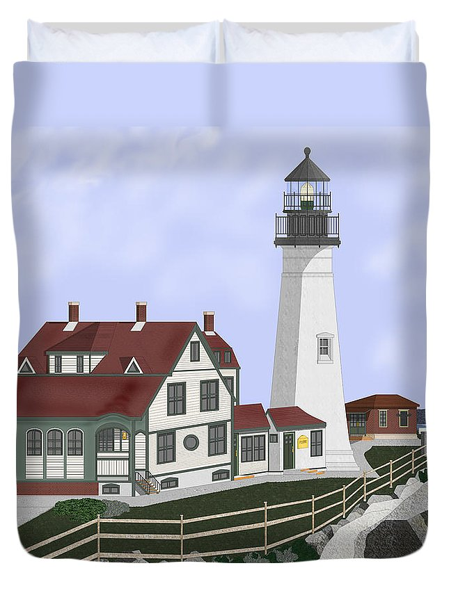 Portland Head Lighthouse Duvet Cover featuring the painting Portland Head Maine On Cape Elizabeth by Anne Norskog