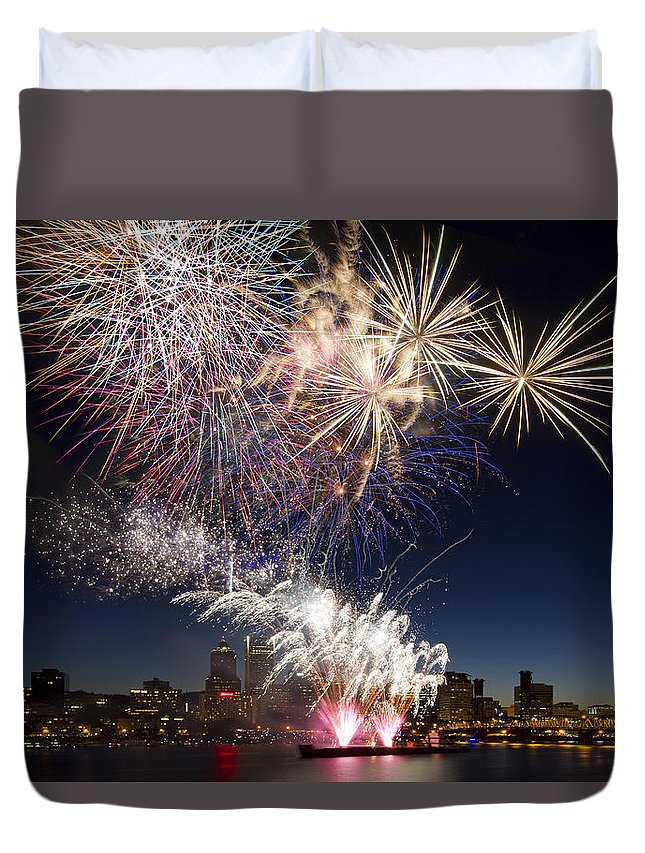Happy New Year Duvet Cover featuring the photograph Portland Oregon Fireworks by David Gn