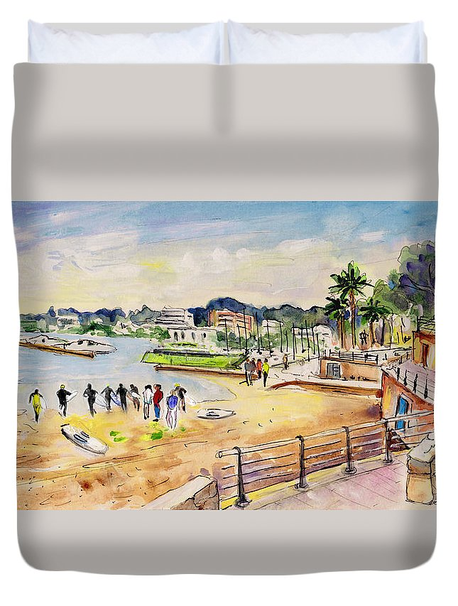Travel Duvet Cover featuring the painting Porto Cristo 01 by Miki De Goodaboom