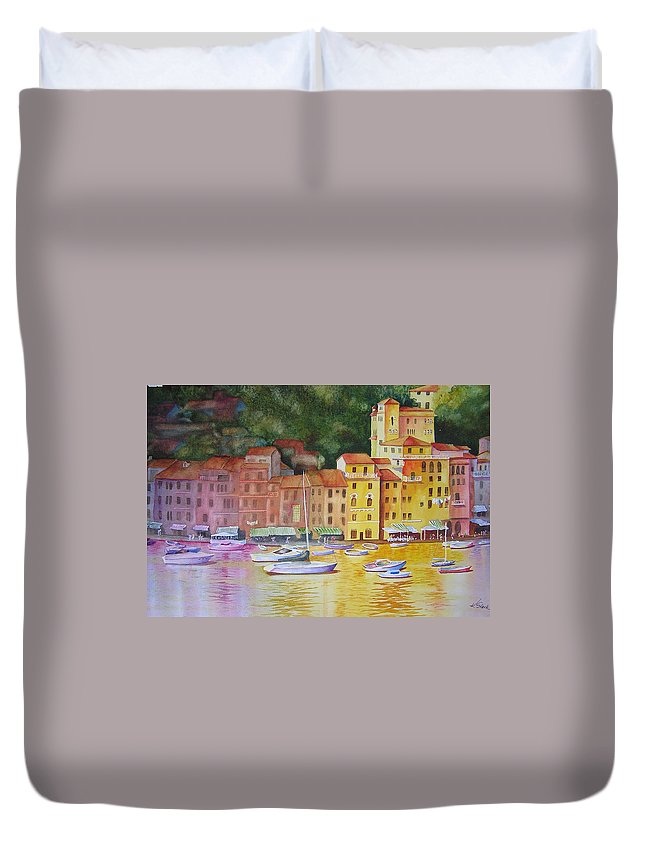 Italy Duvet Cover featuring the painting Portofino Afternoon by Karen Stark