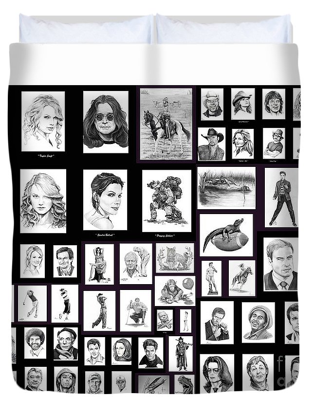 Portraits Duvet Cover featuring the drawing Portrait And Illustrations On Fine Art America by Murphy Elliott