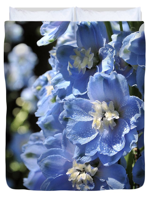 Flower Duvet Cover featuring the photograph Portrait Blue Delphinium 114 by Terri Winkler