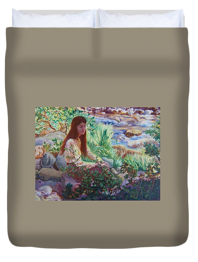Abstract Duvet Cover featuring the painting Portrait By The Stream by Dawn Senior-Trask