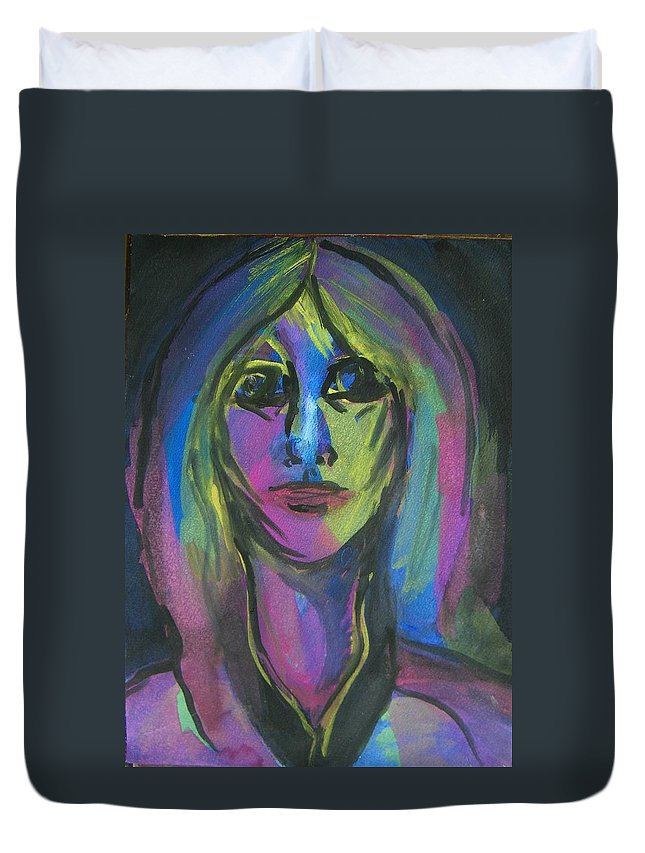 Abstract Duvet Cover featuring the painting Portrait In Black And Blue by Judith Redman