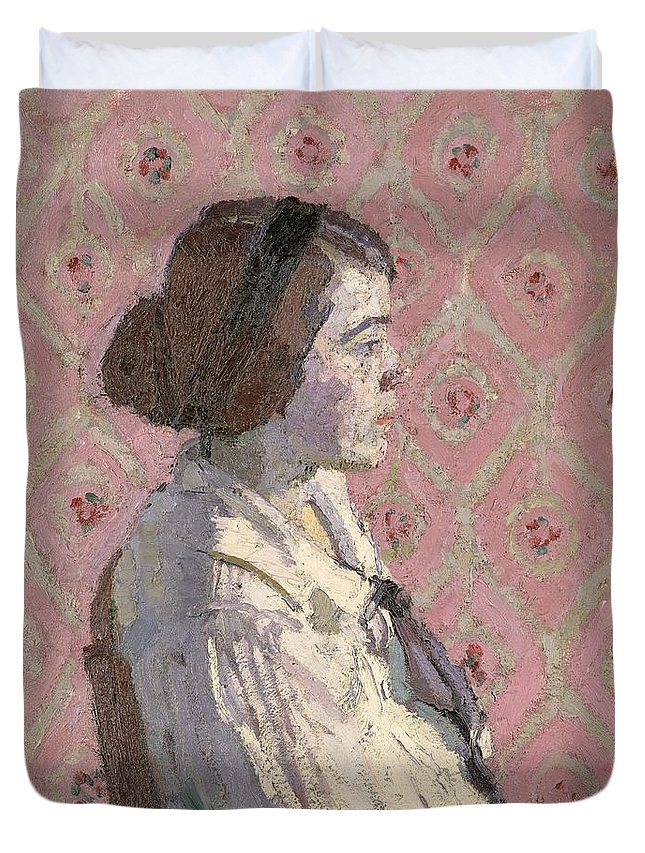 Portrait Duvet Cover featuring the painting Portrait In Profile by Harold Gilman