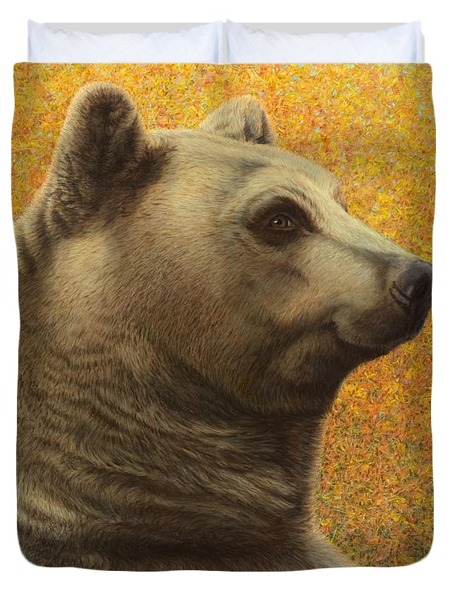 Bear Duvet Cover featuring the painting Portrait Of A Bear by James W Johnson