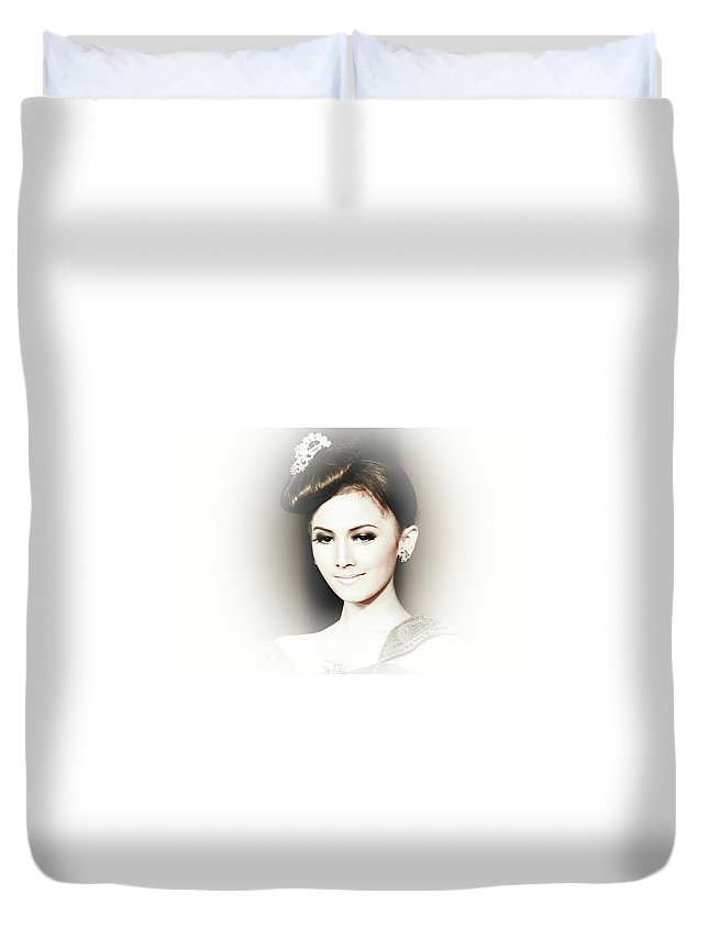 Duvet Cover featuring the photograph Portrait Of A Beautiful Girl by Charuhas Images