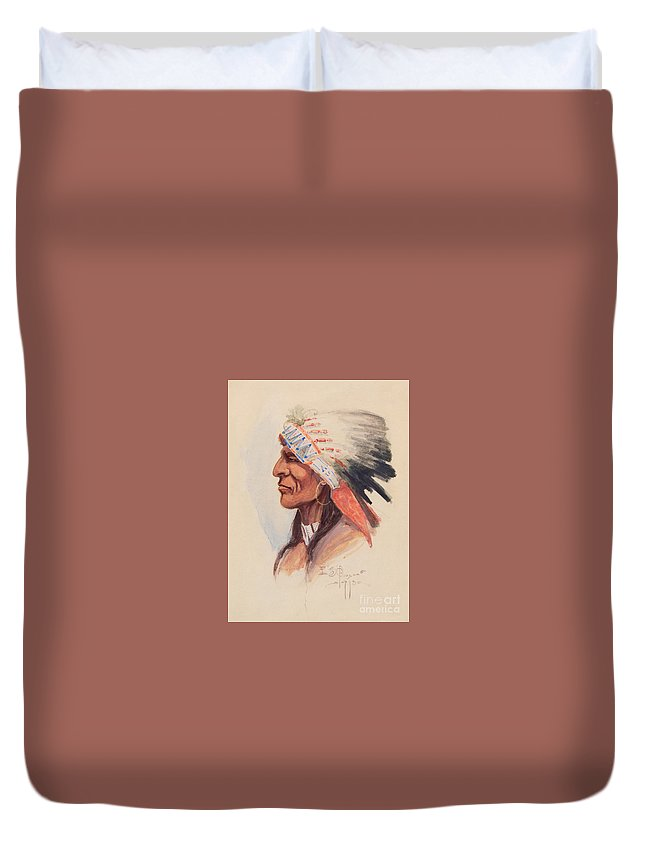 Traditional Duvet Cover featuring the painting Portrait Of A Chief by Celestial Images
