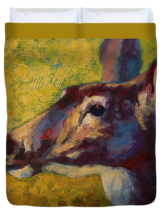 Deer Duvet Cover featuring the painting Portrait Of A Doe by Marion Rose