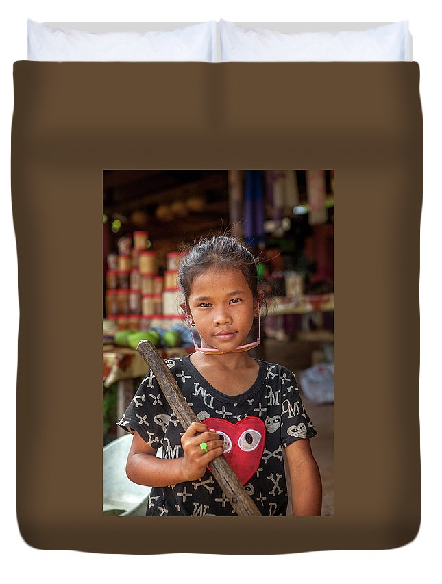 Cambodia Duvet Cover featuring the photograph Portrait Of A Khmer Girl - Cambodia by Art Phaneuf