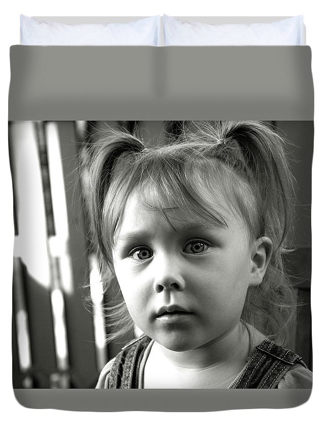 Girl Duvet Cover featuring the photograph Portrait Of My Little Neighbor by Alex Galkin