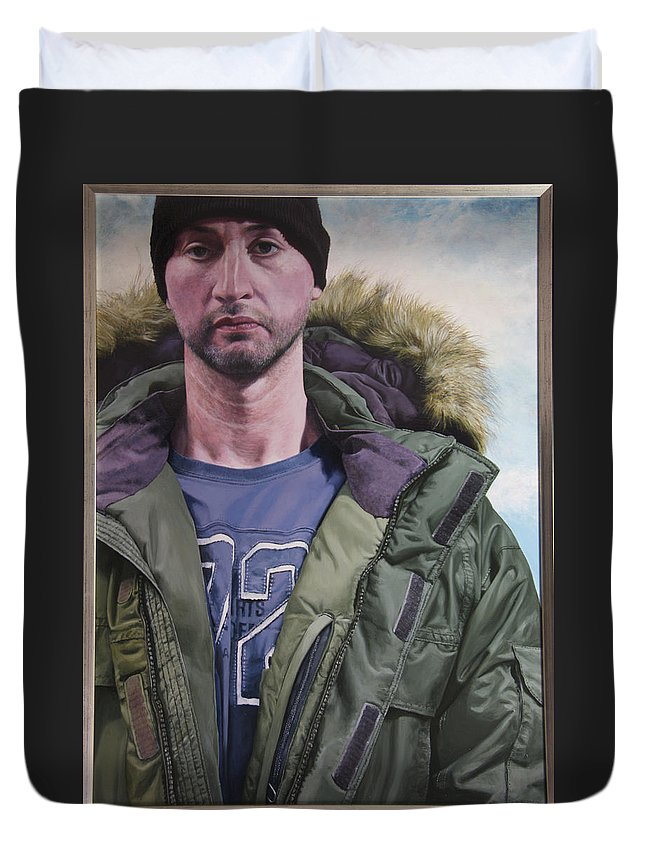 Wales Duvet Cover featuring the painting Portrait Of A Mountain Walker. by Harry Robertson