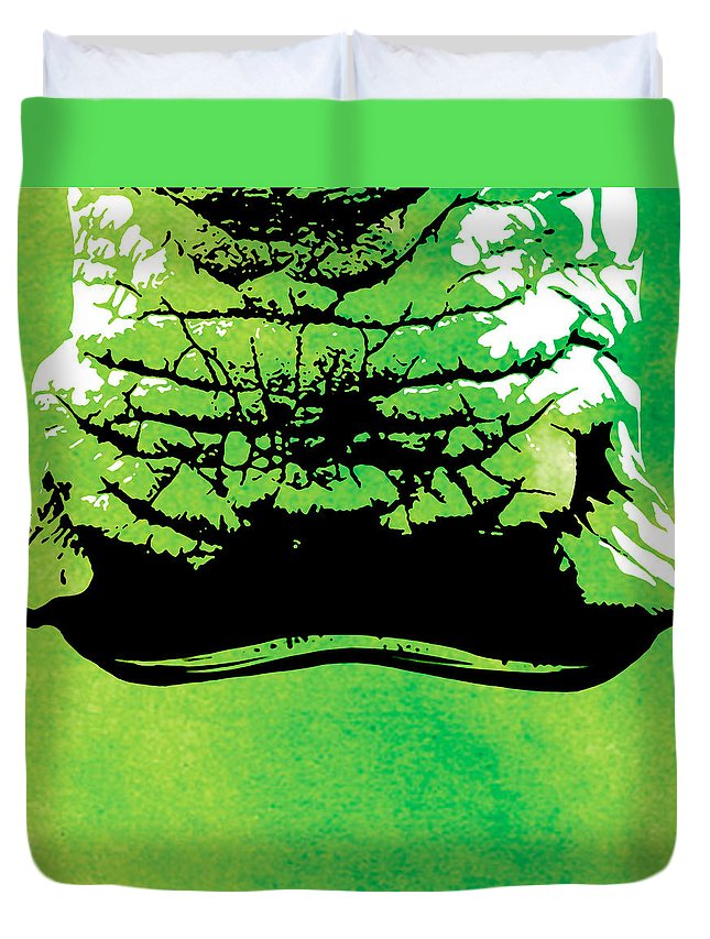 Rhino Duvet Cover featuring the painting Rhino Animal Decorative Green Poster 8 - By Diana Van by Diana Van