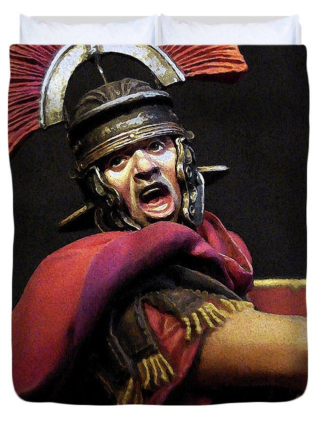 Roman Legion Duvet Cover featuring the painting Portrait Of A Roman Legionary - 11 by Andrea Mazzocchetti