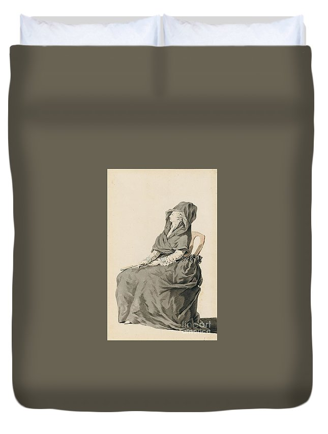 French School Duvet Cover featuring the painting Portrait Of A Seated Woman by MotionAge Designs
