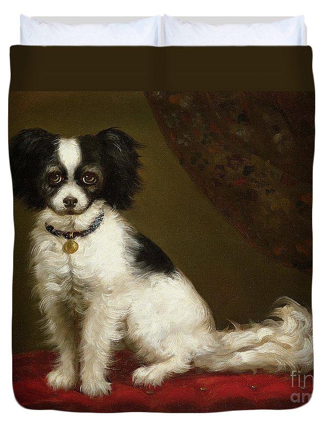 Portrait Of A Spaniel By Anonymous Duvet Cover featuring the painting Portrait Of A Spaniel by Anonymous