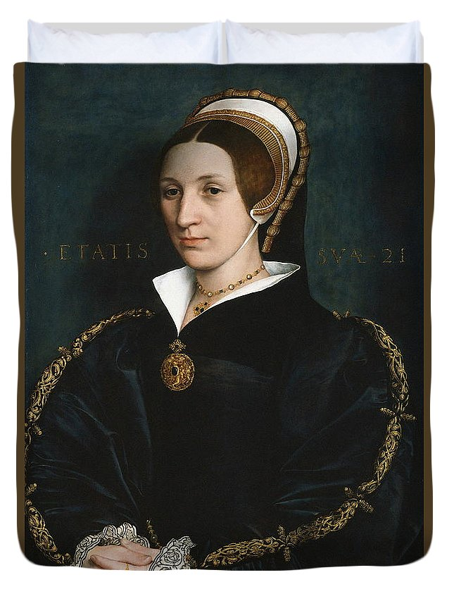 Painting Duvet Cover featuring the painting Portrait Of A Woman by Hans Holbein The Younger