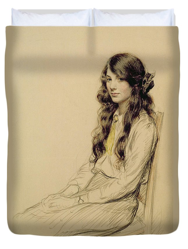 Portrait Duvet Cover featuring the drawing Portrait Of A Young Girl by Frederick Pegram