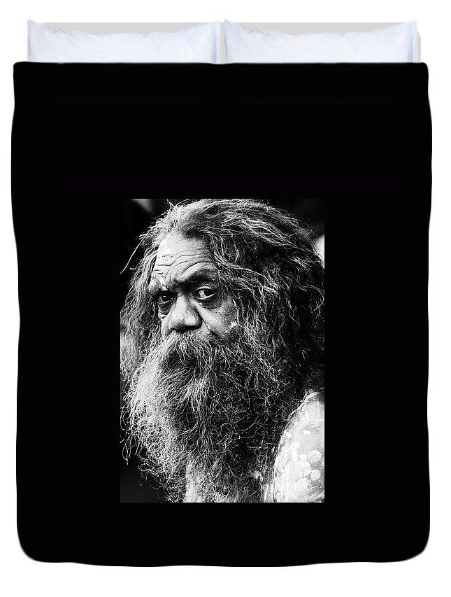 Aborigine Aboriginal Australian Duvet Cover featuring the photograph Portrait Of An Australian Aborigine by Sheila Smart Fine Art Photography