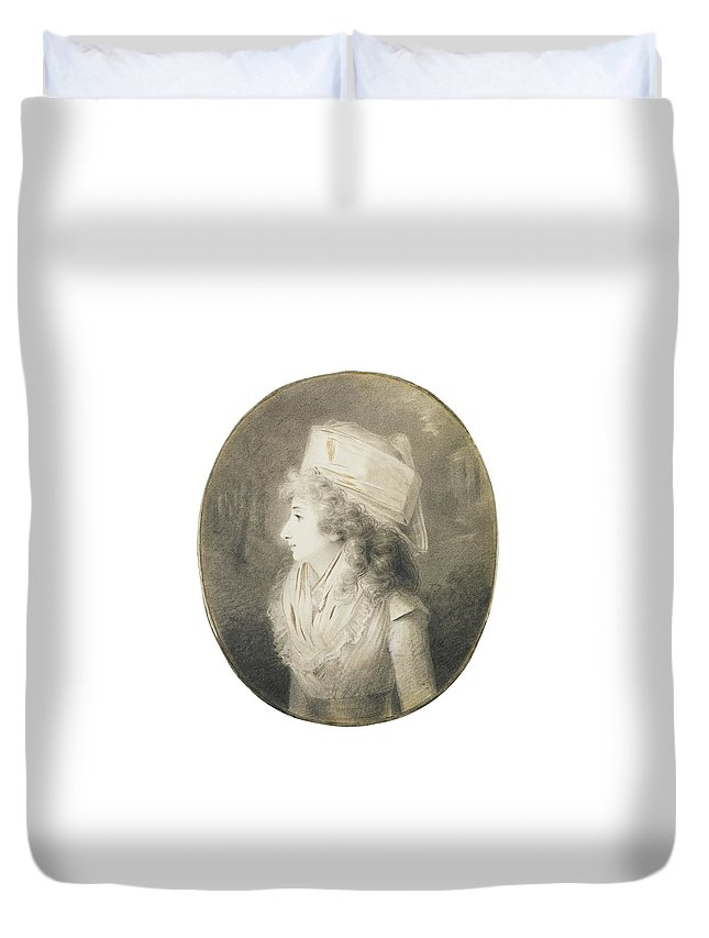 Henri-pierre Danloux Portrait Of An Elegant Lady In Profile Duvet Cover featuring the painting Portrait Of An Elegant Lady In Profile, Wearing A Hat by MotionAge Designs