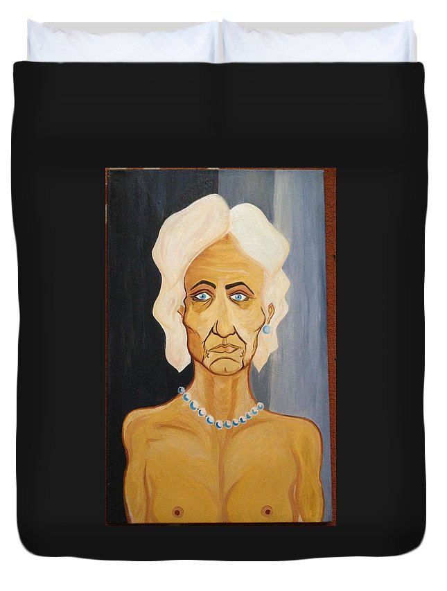Portrait Of An Old Woman Perls Nude Eld Duvet Cover featuring the painting Portrait Of An Old Woman by Costin Tudor
