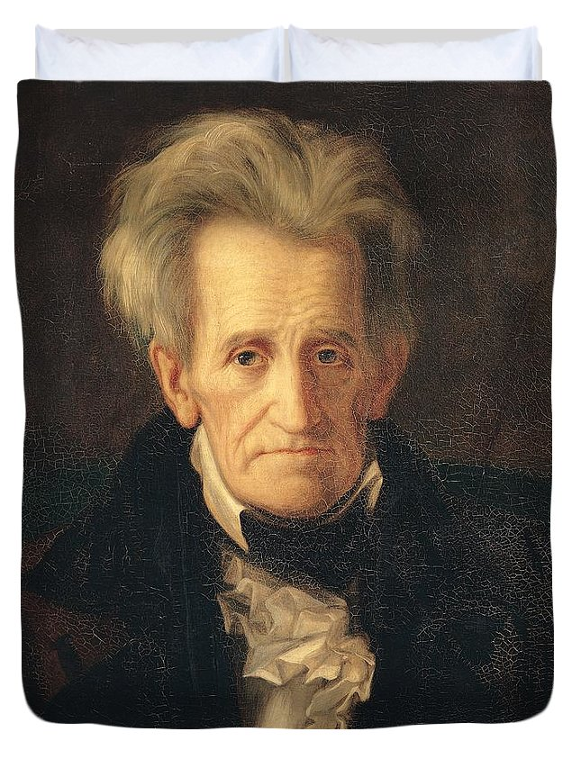 Portrait Of Andrew Jackson (oil On Canvas) By George Peter Alexander Healy (1808-94) Duvet Cover featuring the painting Portrait Of Andrew Jackson by George Peter Alexander Healy