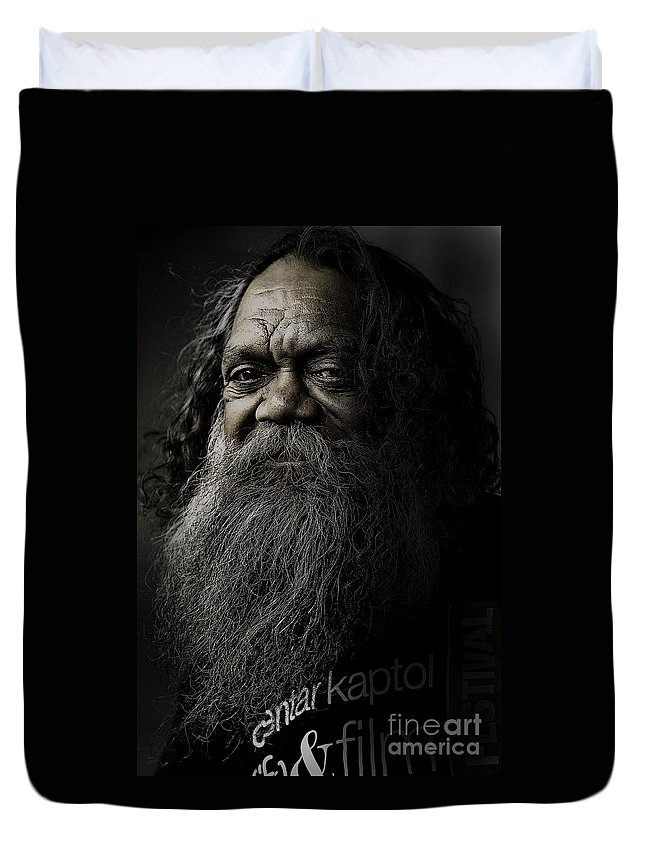 Aboriginal Duvet Cover featuring the photograph Portrait Of Cedric by Sheila Smart Fine Art Photography