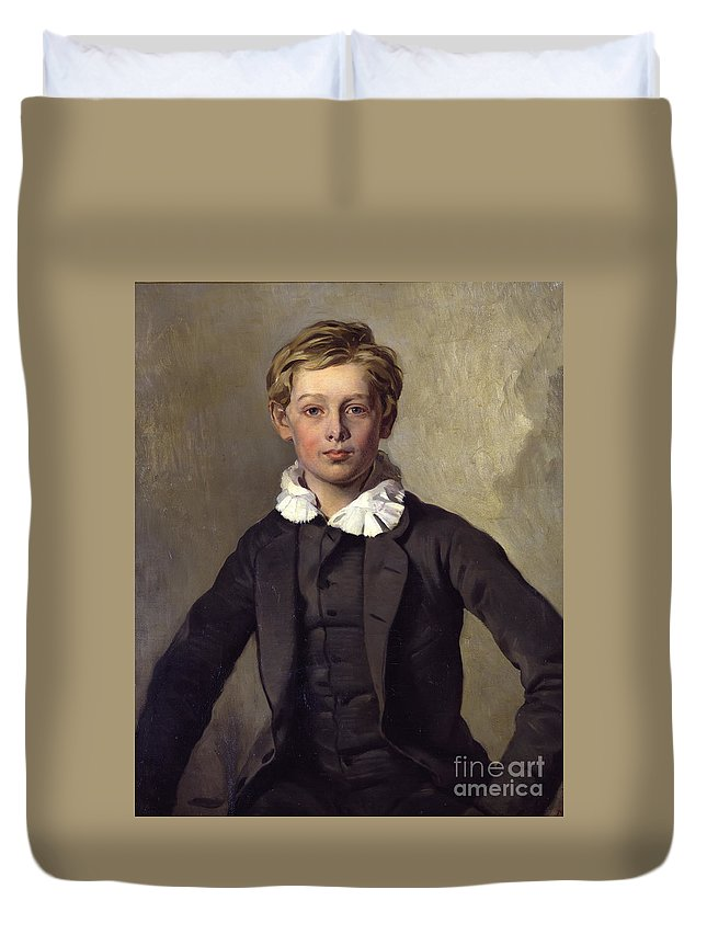 Ferdinand Of Rayski Duvet Cover featuring the painting Portrait Of Count Haubold Von Einsiedel by Celestial Images
