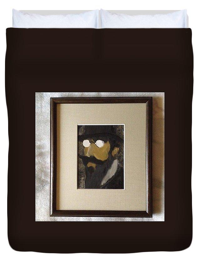 Erik Satie French Composer Melon Bowler Beard Duvet Cover featuring the painting Portrait Of Erik Satie by Costin Tudor