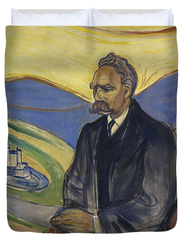 Painting Duvet Cover featuring the painting Portrait Of Friedrich Nietzsche by Mountain Dreams