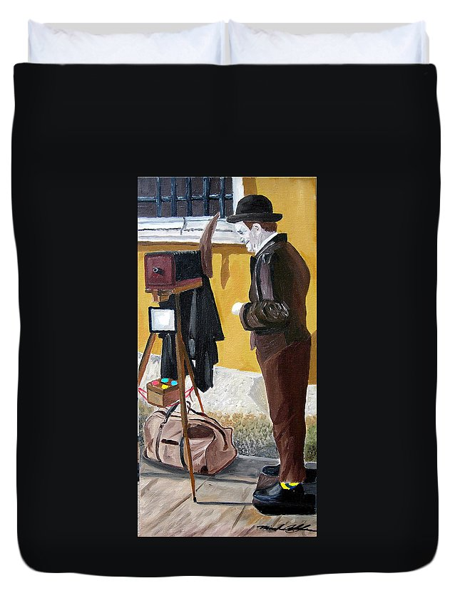 Mime Duvet Cover featuring the painting Portrait Of Identity by Michael Lee