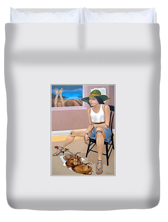 Mannequin Series Duvet Cover featuring the painting Portrait of Jane Doe and the Oppressed Majority Called Womanhood by Jerrold Carton