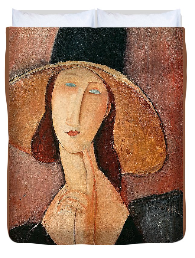 Portrait Duvet Cover featuring the painting Portrait Of Jeanne Hebuterne In A Large Hat by Amedeo Modigliani