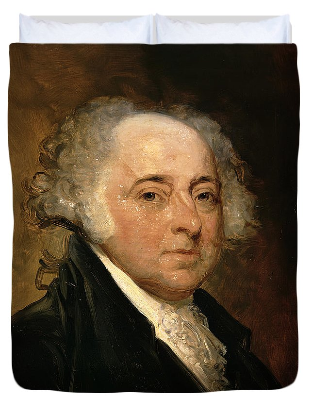 Portrait Of John Adams (oil On Canvas) By Gilbert Stuart (1755-1828) (after) Duvet Cover featuring the painting Portrait Of John Adams by Gilbert Stuart