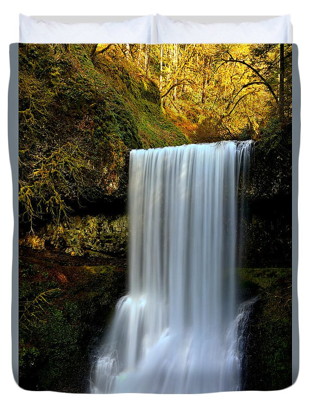 Lower South Falls Duvet Cover featuring the photograph Portrait Of Lower South Falls by Adam Jewell