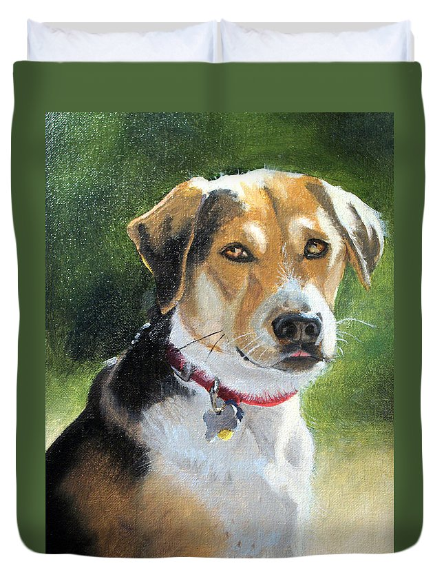 Dog Brown Duvet Cover featuring the painting Portrait Of Lucy In Nj by Laurie Paci