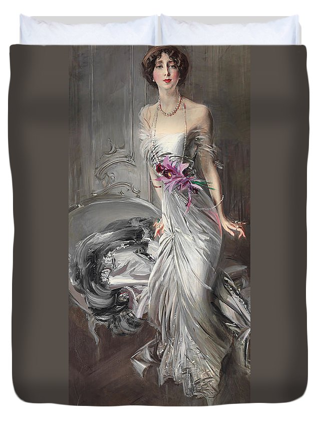 Boldini Duvet Cover featuring the painting Portrait Of Madame Eugene Doyen by Giovanni Boldini