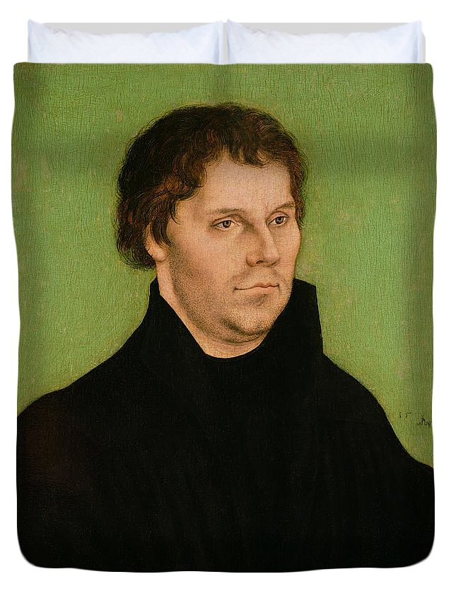 Portrait Duvet Cover featuring the painting Portrait Of Martin Luther by Lucas Cranach the Elder