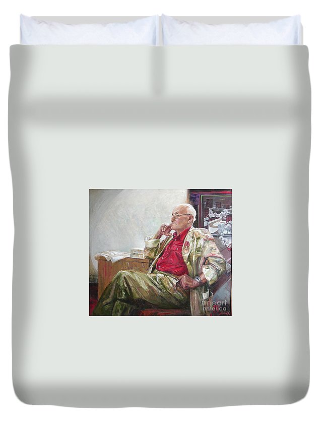 Oil Duvet Cover featuring the painting Portrait Of May Dancig by Sergey Ignatenko