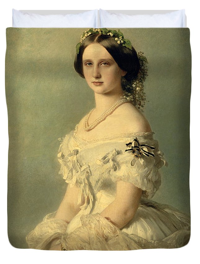 Portrait Duvet Cover featuring the painting Portrait Of Princess Of Baden by Franz Xaver Winterhalter