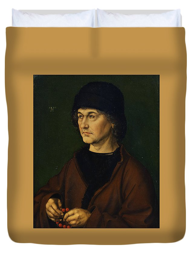 Albrecht Durer Duvet Cover featuring the painting Portrait Of The Artist's Father by Albrecht Durer