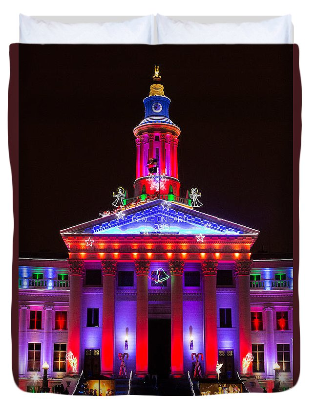 Denver Duvet Cover featuring the photograph Portrait Of The Denver City And County Building During The Holidays by Tony Hake